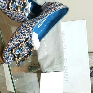 Manolo blahnik blue flat tweed